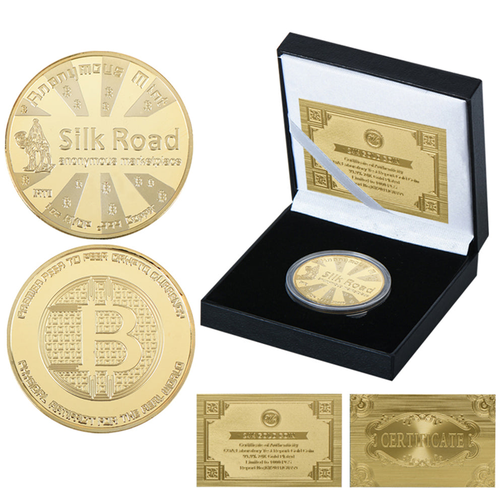 24K Gold And Silver Plated Bitcoin Commemorative Coins with Special Edition Obsidian Black Coin Collector Box And 24K Gold Certificate