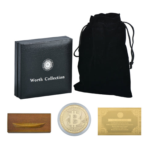 24K Gold And Silver Plated Bitcoin Celebrity Commemorative Coins with Obsidian Black Bag And 24K Gold Certificates