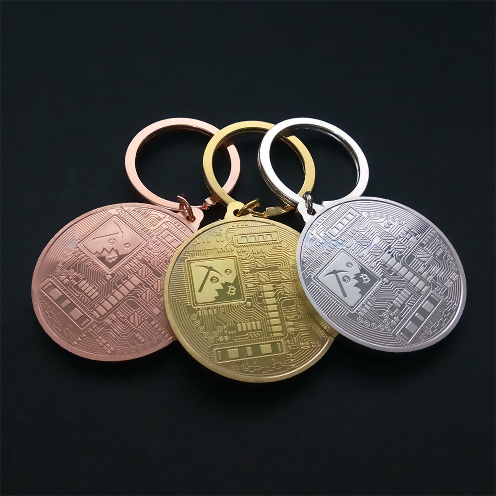 24K Gold, Silver And Bronze Plated Bitcoin Keychain