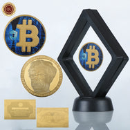 24K Gold And Silver Plated Bitcoin Commemorative Coins with Special Edition Glass Collector Box And 24K Gold Certificate
