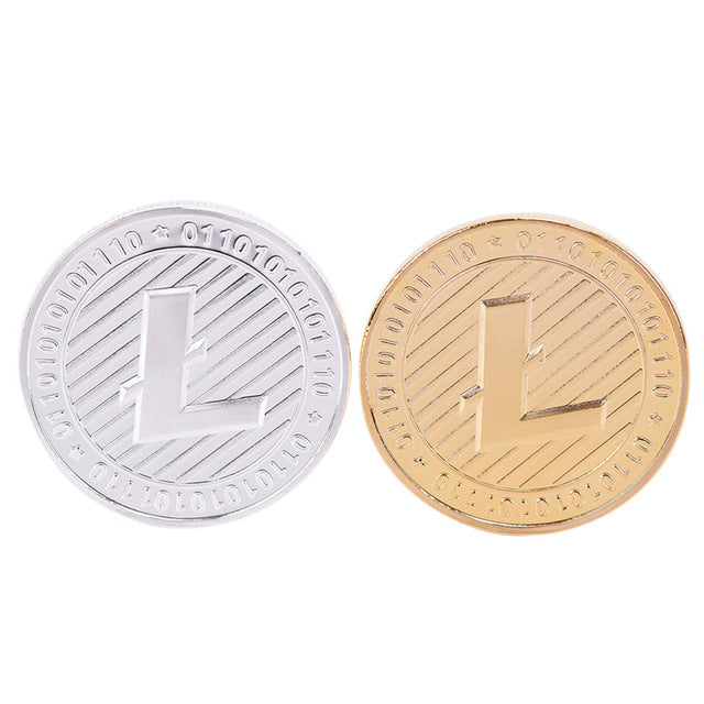 24K Gold And Silver Plated 1101110011 Ridged Litecoin Commemorative Coin