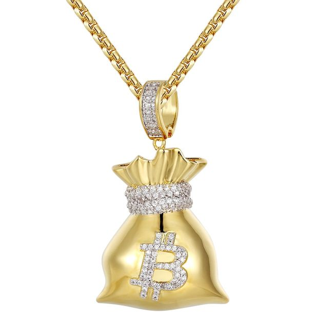 14K Gold Finish Bitcoin Money Bag Chain