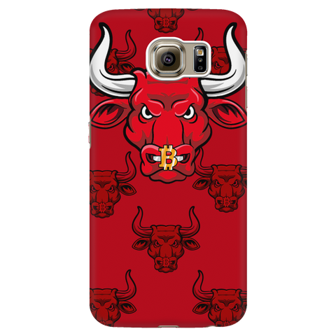 Samsung Galaxy S6 Red Bitcoin Bull Phone Case