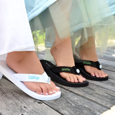 White Personalized Flip Flops