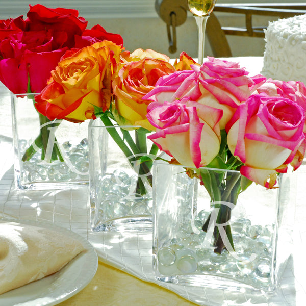 Glass Vase Wedding Centerpiece (Set of 3)