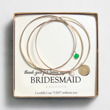 Gold w/ Emerald Crystal & Pearl Bangle Bracelets