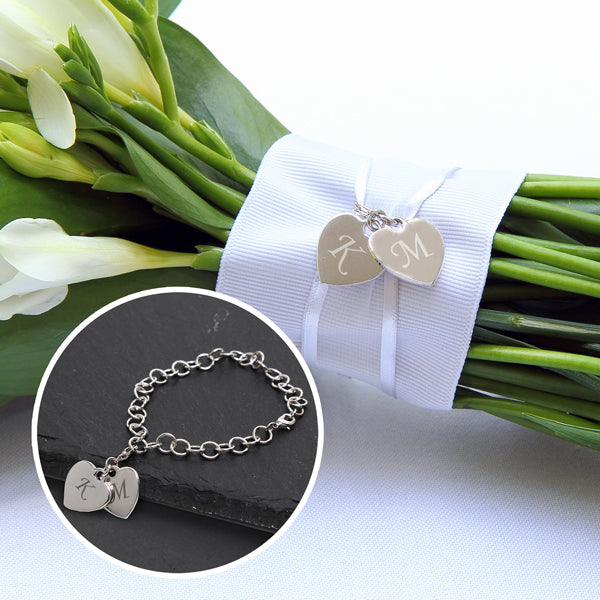 Bridal Bouquet Double Heart Charm Bracelet
