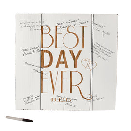 Personalized Best Day Ever Wood Art Guest Book