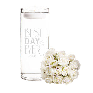 Personalized Best Day Ever Floating Unity Candle