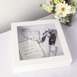 Personalized Best Day Ever White Wedding Wishes Keepsake Shadow Box