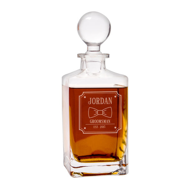 Personalized Groomsman Bow Tie 32 oz. Square Whiskey Decanter