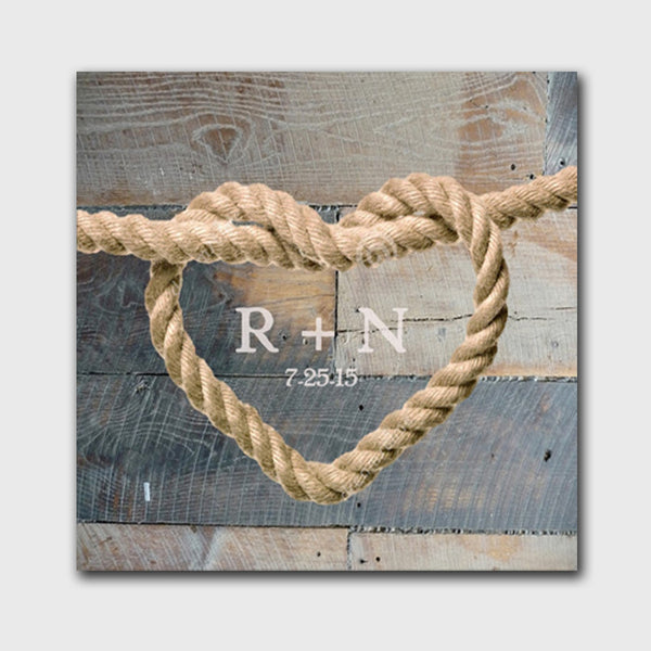 Knot Canvas Sign - Blue Wood Background Design