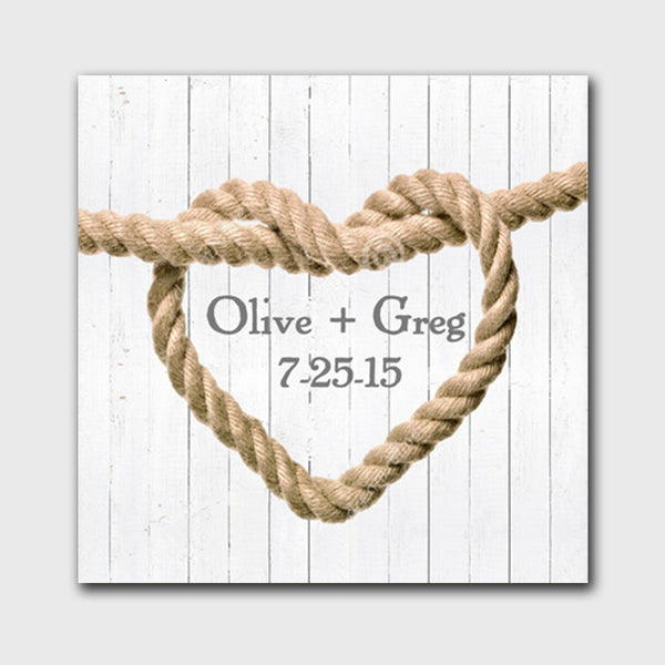 Knot Canvas Sign - White Wood Background Design