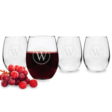 Personalized Circle Initial Stemless Wine Glasses (Set of 4)