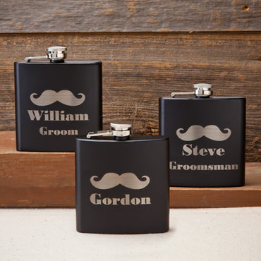 Black Matte Mustache Flasks - Groom