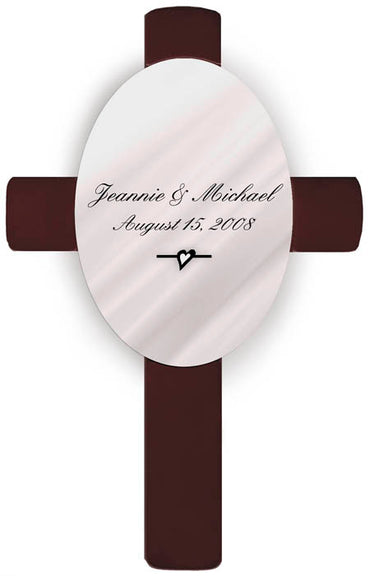 Personalized Oval Wedding Cross - C3 Devonshire