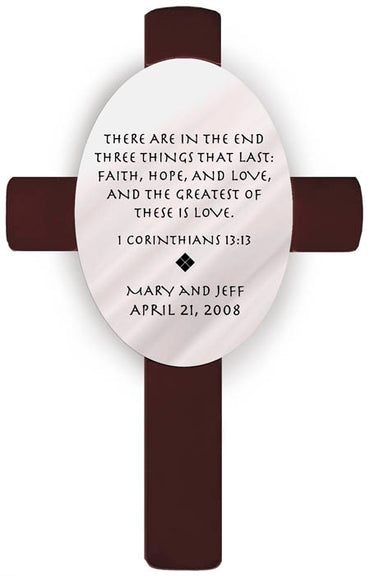 Personalized Oval Wedding Cross - P15 1 Corinthians