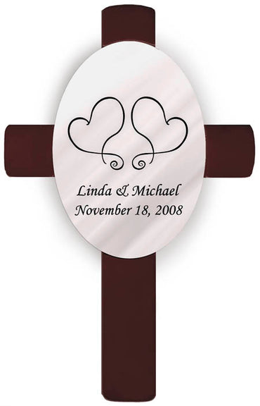 Personalized Oval Wedding Cross - S17 Two Hearts