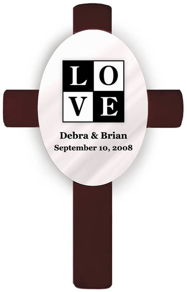 Personalized Oval Wedding Cross - T18 Love