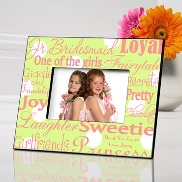 Personalized Jr. Bridesmaid Frame - Green Dots