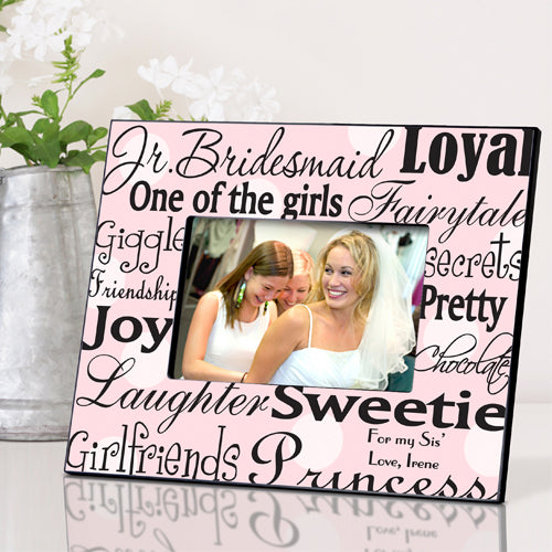 Personalized Jr. Bridesmaid Frame - Pink Dots