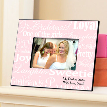 Personalized Jr. Bridesmaid Frame - White/Pink