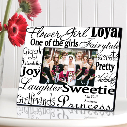 Personalized Flowergirl Frame - Black/White