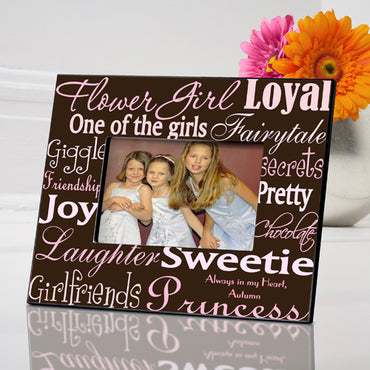 Personalized Flowergirl Frame - Pink/Brown