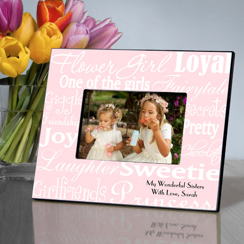 Personalized Flowergirl Frame - White/Pink