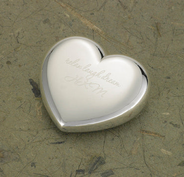 Light-Hearted Love Silver Plated Heart Paper Weight