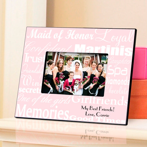 Maid of Honor Frame - White on Pink