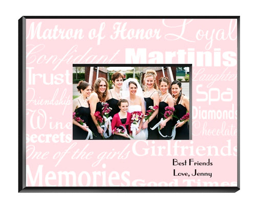 Matron of Honor Frame - White on Pink