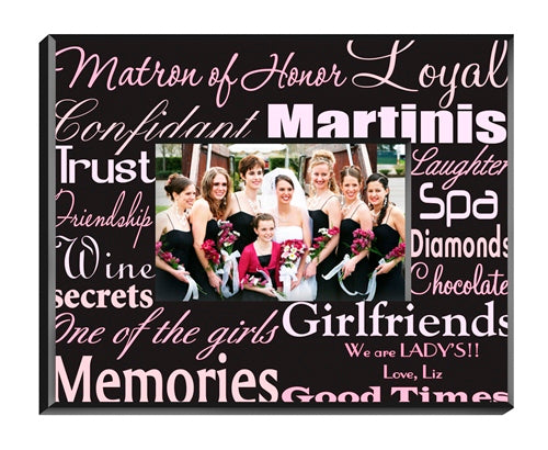 Matron of Honor Frame - Pink/Brown