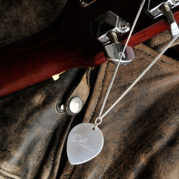 Sterling Guitar Pick Necklace