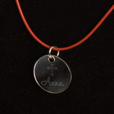Inspirational Pendant Necklace with Engraved Cross