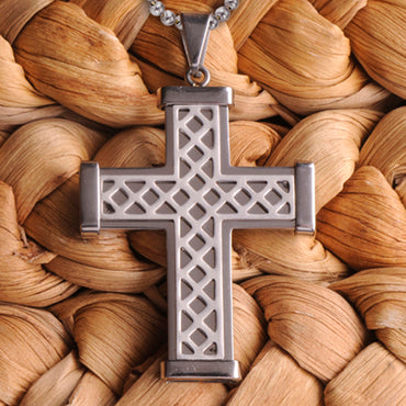 Silver Weave Cross Necklace