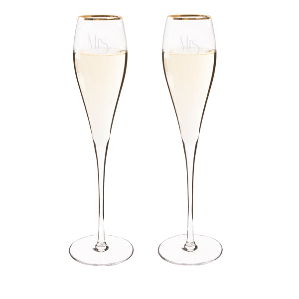 Mrs. & Mrs. Gatsby Gold Champagne Flutes
