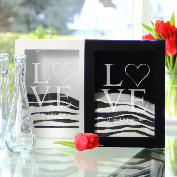 White Modern Love Sand Ceremony Shadow Box Set