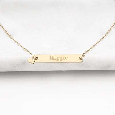 Gold Personalized Bar Necklace with Heart Charm