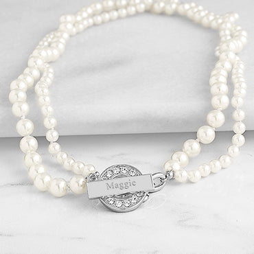 Ivory Personalized Pearl Necklace with Rhinestone Toggle