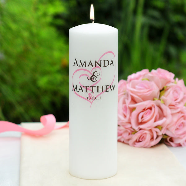 White Embracing Hearts Unity Candle