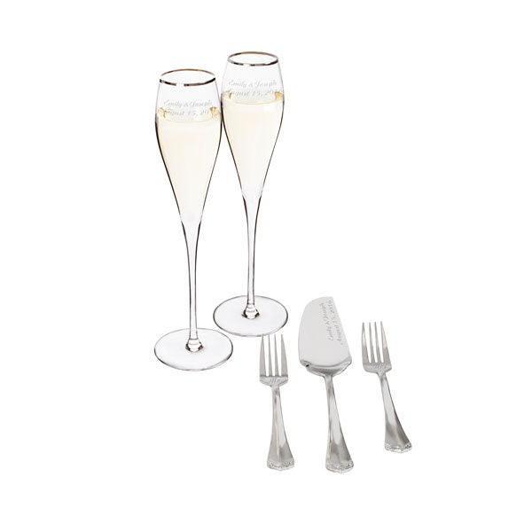 Personalized Silver Rim Champagne Flutes and Keepsake Cake Serving Set