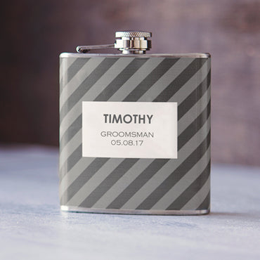 Personalized Grey on Grey Tie Pattern Custom Flask