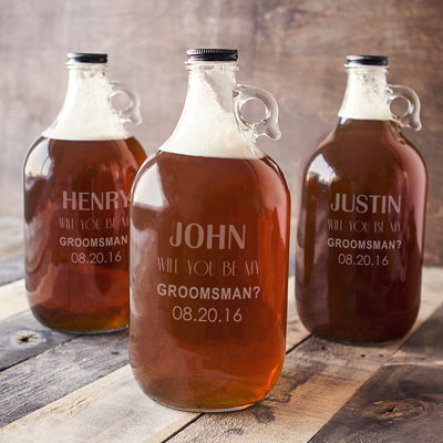 Personalized Will You Be My Groomsman? 64 oz. Craft Beer Growler
