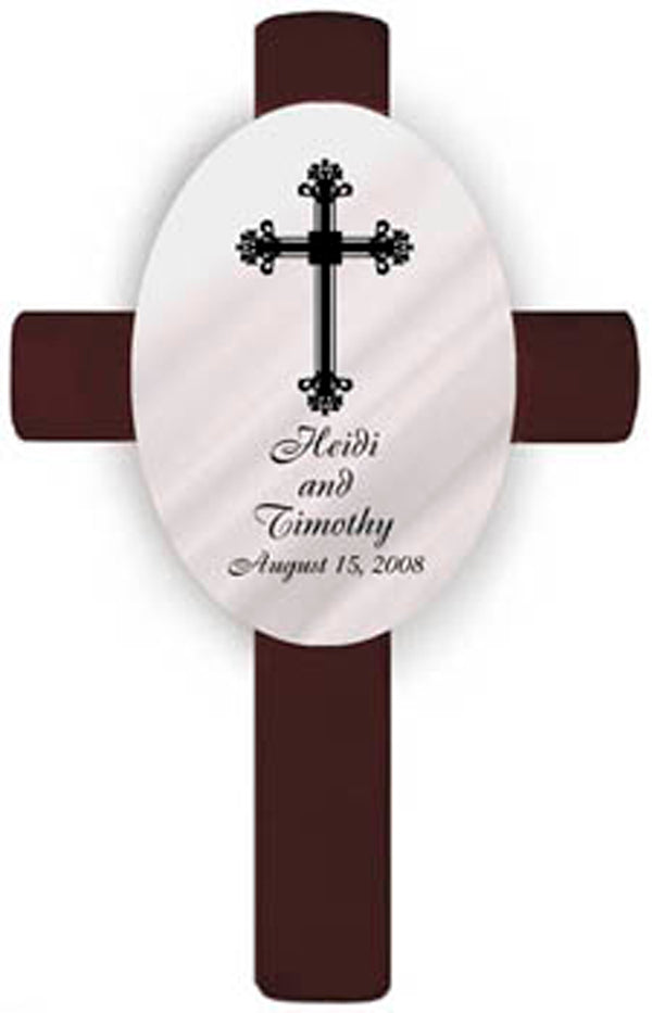 Personalized Oval Wedding Cross - F6