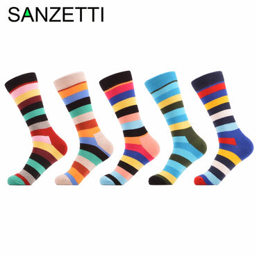 5 pair Men's Colorful Cotton Stripe Socks