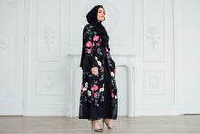 Black Floral Embroidery Abaya