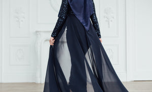 Navy Sequin & Chiffon Trail Gown