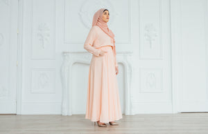 Aizah Peach Maxi Dress