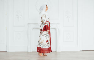 Cream Floral Embroidery Abaya